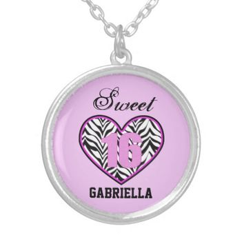 Pink Personalized: Zebra Heart Sweet 16 Necklace