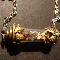 Unique Steampunk Watch Parts in Vial Necklace - Victorian Style (343)