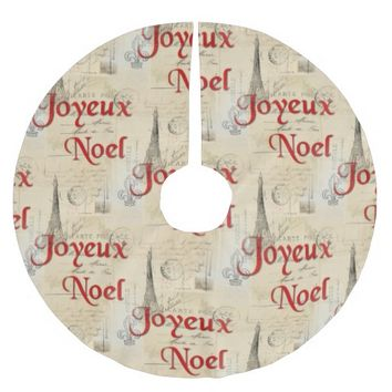 Paris French Postcards Christmas Tree Skirt