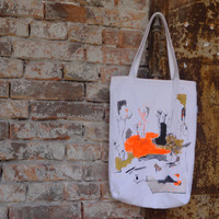 Large Tote Bag Urban Glam White Orange Hand Painted OOAK