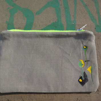 Grey Green Hand Painted  Clutch Bag, Grey Canvas Pencil Case, OOAK, Unique Purse