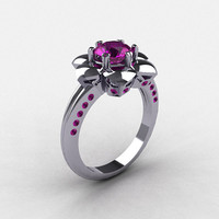 950 Platinum Amethyst Wedding Ring, Engagement Ring NN102-PLATAM
