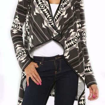 Aztec Cardigan Pleather Trim