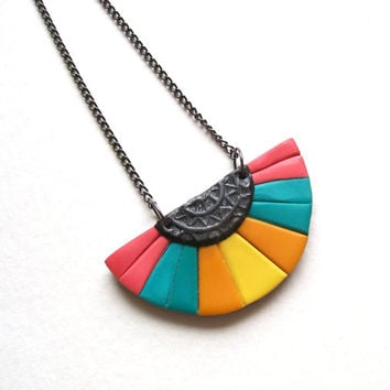 Colorful oriental fan necklace Bubblegum polymer clay silver yellow ocher turquoise blue teal warm pink rainbow pendant bohemian necklace