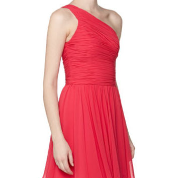 One-Shoulder Pleated Cocktail Dress, Fuchsia