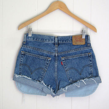 Vintage Levi's Mid High Waisted Cut Off Denim Shorts Jean Cuffed 30 29""