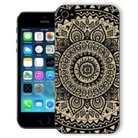 ChiChiC® Iphone Case, i phone 5 5s case, Iphone5 Iphone5s covers, plastic cases back cover skin protector,geometric black mandala wood grain