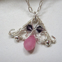 Necklace, pink jade and purple swarovski