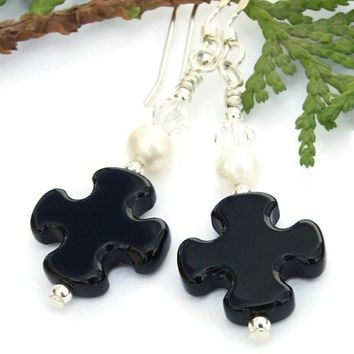 Black Onyx Cross Earrings Handmade Pearls Swarovski Christian Jewelry