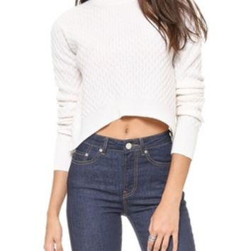 Wilt Cabled Crop Cashmere Sweater