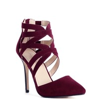 Burgundy Caged Pointy Heels