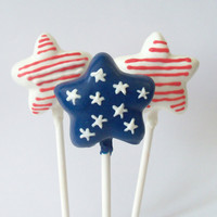 July 4th Star Flag Cake Pops Red White & Blue by EntirelySweet