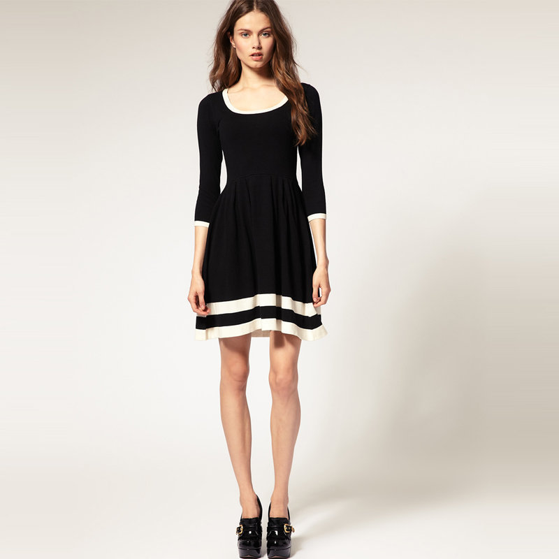 Bqueen Contrast Fit And Flare Knitted Dress BY016H