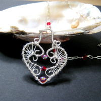 Wire wrapped red heart necklace