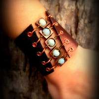 Womens Handmade Leather Gemstone Cuff Bracelet Metallic Bronze Amazonite and Copper