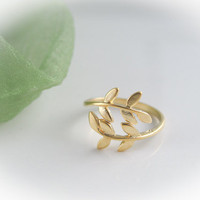 gold leaf ring size 5 - 9 us