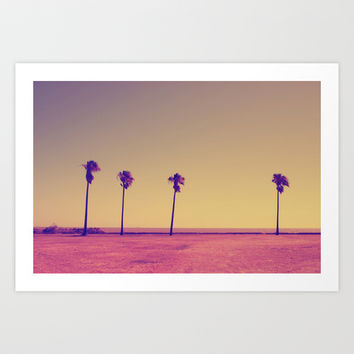 four palms in paradise Art Print by Bianca Green