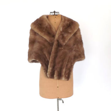 Vintage 1950s 1960s Mink Cape Shawl Brown Fur Stole Fur Scarf Couture Fur Wrap Mad Men Fall Cloak Flapper Pin Up Wedding  Dress Cover Up