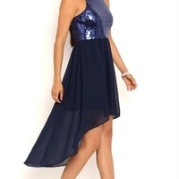 High Low Homecoming Dress with Sequin Mock Neckline