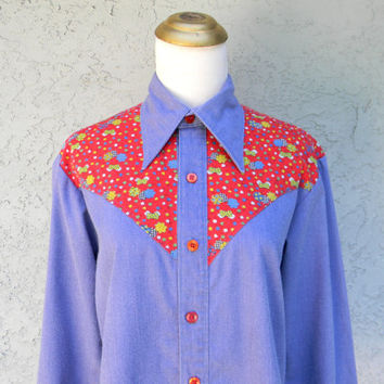 70s Hippie Shirt - Unisex Halloween Costume, Seventies Party Outfit Top - Blue and Red Button Up Disco Hippy Shirt w Butterfly Collar Size M