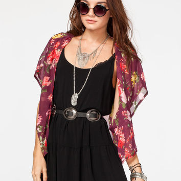 Full Tilt Floral Womens Short Kimono Wine  In Sizes