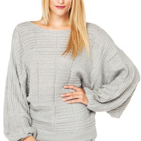 Rehab Boat Neck Oversized Sweater in Ash