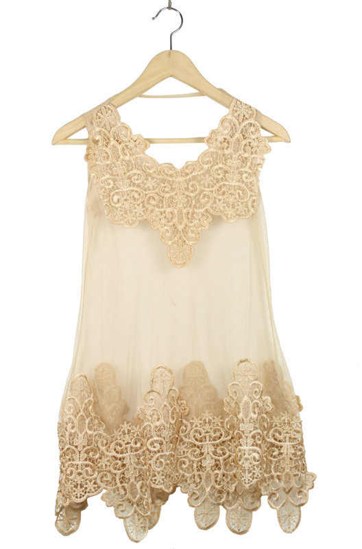 Apricot Lace Tank Embroidery Dress - Sheinside.com
