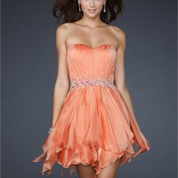 Strapless Pleating on the bust Beaded Waist Chiffon Cocktail Dress PD10720 Online Sale