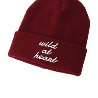 Wild at Heart Embroidered Beanie by Charlotte Russe - Burgundy