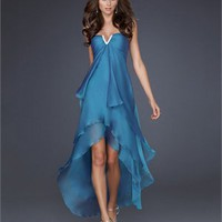 High-Low Strapless Crystal V-neckline Chiffon Ruffled Prom Dress PD10766 Online Sale