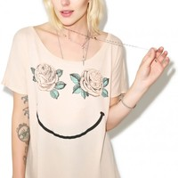 Wildfox Couture Happy Roses Goldie Eccentricity Tee Brown Egg