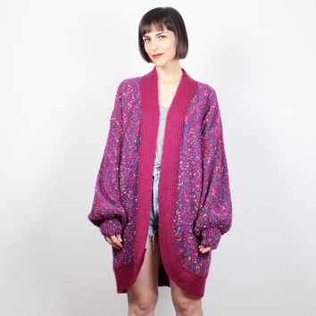Vintage Raspberry Pink Sweater Coat Textured Nubby Sweater Jacket 1980s 80s New Wave Rainbow Knit Oversized Jumper Cardigan L Extra Large XL