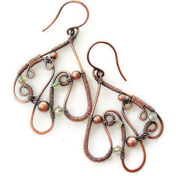 Boho style wire earrings with crystals