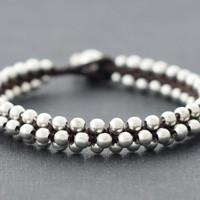 Mala Beaded Silver Bracelet by XtraVirgin on Etsy