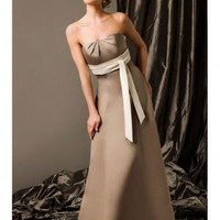 Elegant Satin Empire Waist  Strapless A-Line Bridesmaid Gown - Basadress.com