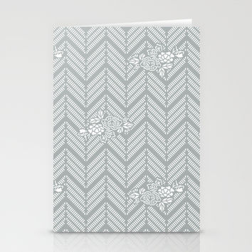 Pastel Gray Chevron Floral Stationery Cards by BeautifulHomes