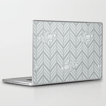 Pastel Gray Chevron Floral Laptop & iPad Skin by BeautifulHomes