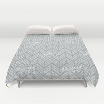 Pastel Gray Chevron Floral Duvet Cover by BeautifulHomes