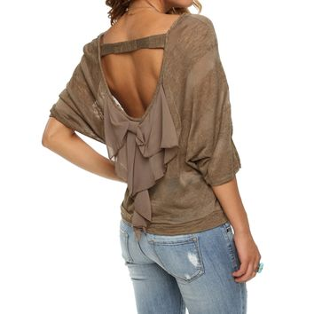 Olive Lovely Back Bow Top