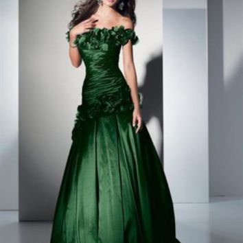 UK Satin Off-the-shoulder Floor-length Flowers Mermaid Dark Green Prom Dress Online