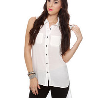 Ivory Tank Top - High Low Top - Button Up Top - $34.00