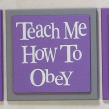 Teach Me How To Sayings, Teaching Children Inspired Signs, Set of 3 Wood Plaques - Babies Nursery Room Decor - Purple / Gray Baby Child Gift