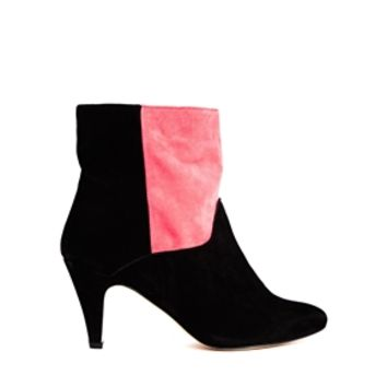 Ganni Raisa Suede Two Tone Heeled Ankle Boots