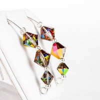 Xilion Crystal Earrings / Swarovski beaded dangling bridal rainbow xilion beads earrings