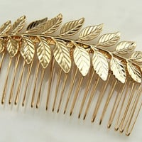 24k gold plated Bridal hair comb - Victorian shabby chic vintage style - Gold hair comb