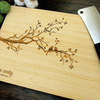 Personalized Cutting Board (Pictured in Natural), approx. 12 x 16 in., Love Birds On A Tree, Names and Date - Wedding gift, Housewarming gif