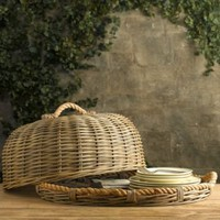 Handwoven Wicker and Rope Food Dome and Tray | Entertaining | Restoration Hardware
