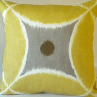 Yellow Ikat Pewter Pillow Cover 18x18
