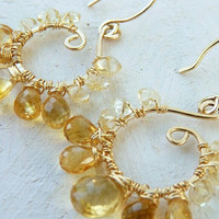 gold citrine earrings - gold earrings - wire wrapped earrings - summer earrings