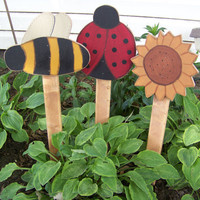 Set of 3 Short Wooden Painted Lady Bug, Sunflower, and Bumblebee Yard Stakes